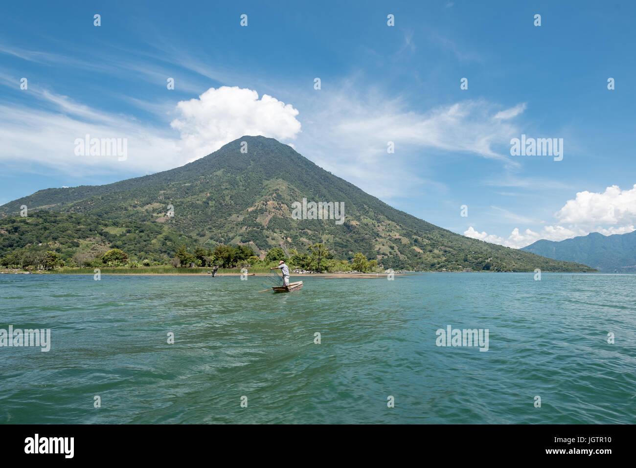 Fisherman on Atitlan lake, Guatemala - Stock Image