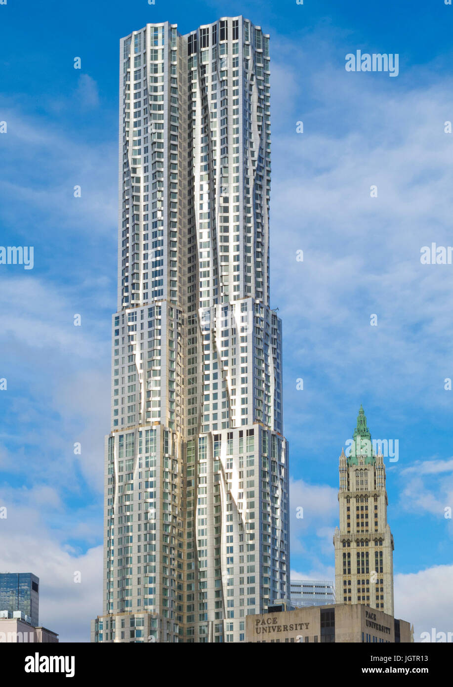 New Beekman Tower designed by Frank Gehry on Manhattan Island New York city USA - Stock Image
