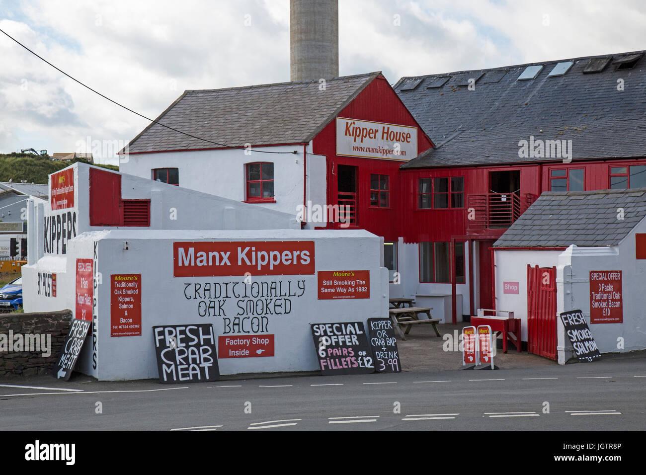 Moore's Kipper yard and smoke house in Peel on The Isle of man. - Stock Image