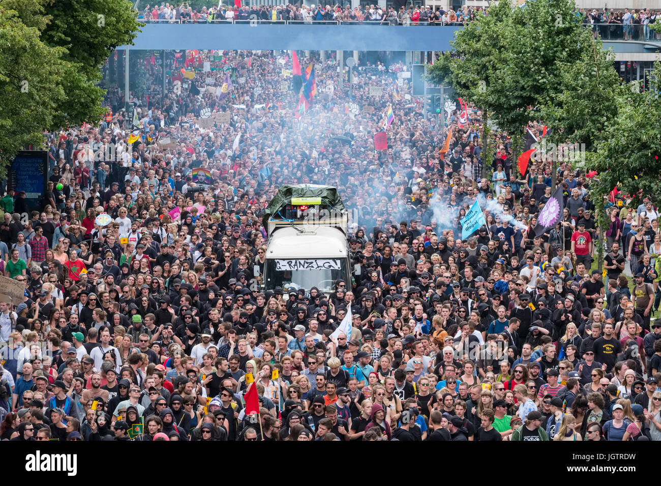 8th July, 2017. Hamburg, Germany. large demonstration march through central Hamburg protesting against G20 Summit - Stock Image