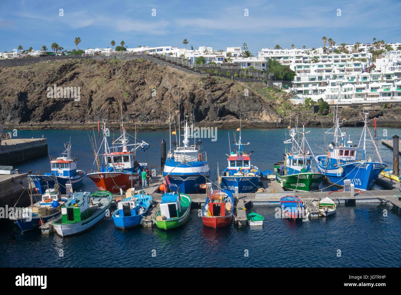 Fishing harbour La Tinosa at Puerto del Carmen, Lanzarote island, Canary islands, Spain, Europe - Stock Image