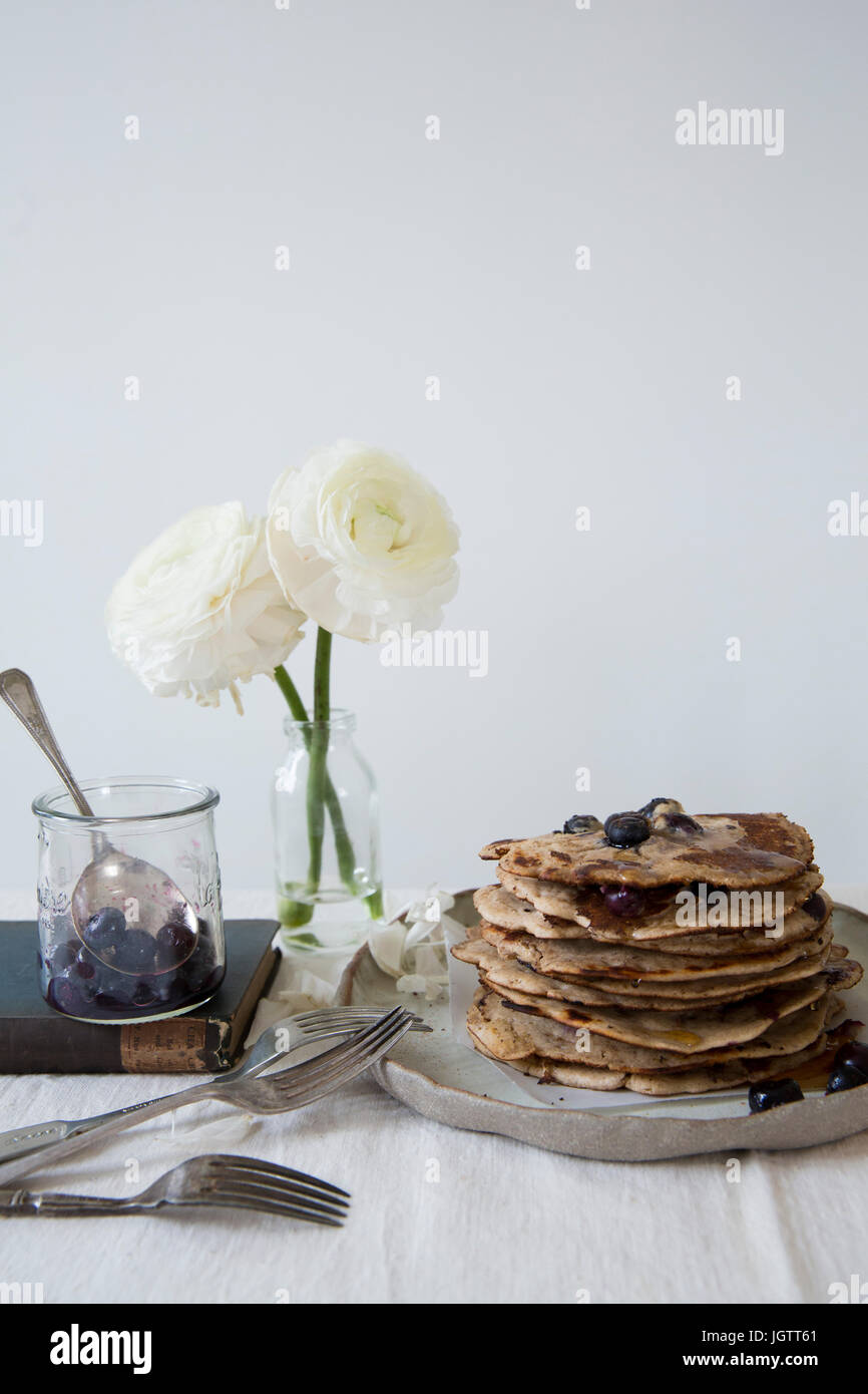 A stack of healthy pancakes with copy space - Stock Image
