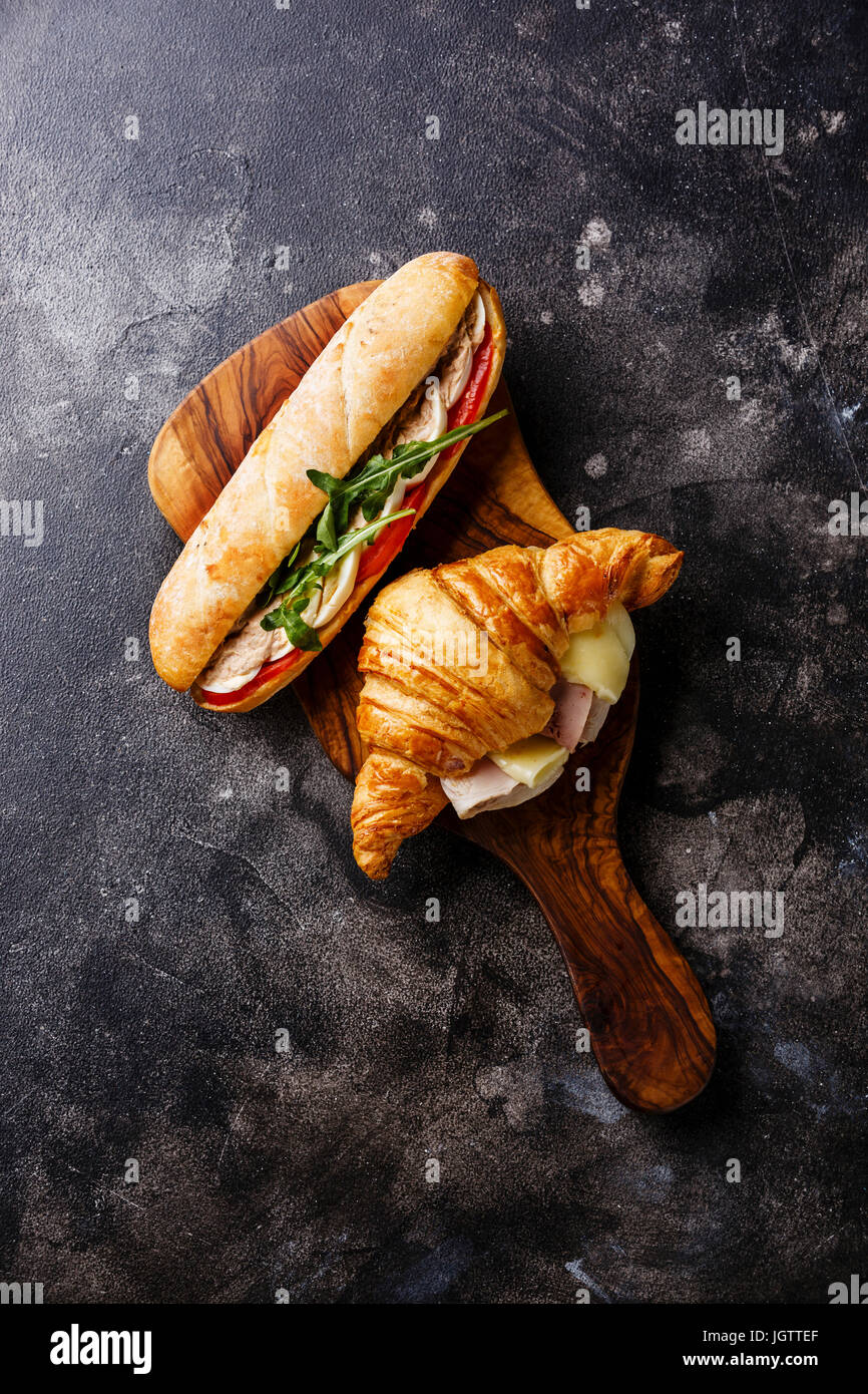 Sandwich with tuna and egg and Croissant sandwich with cheese and ham - Stock Image