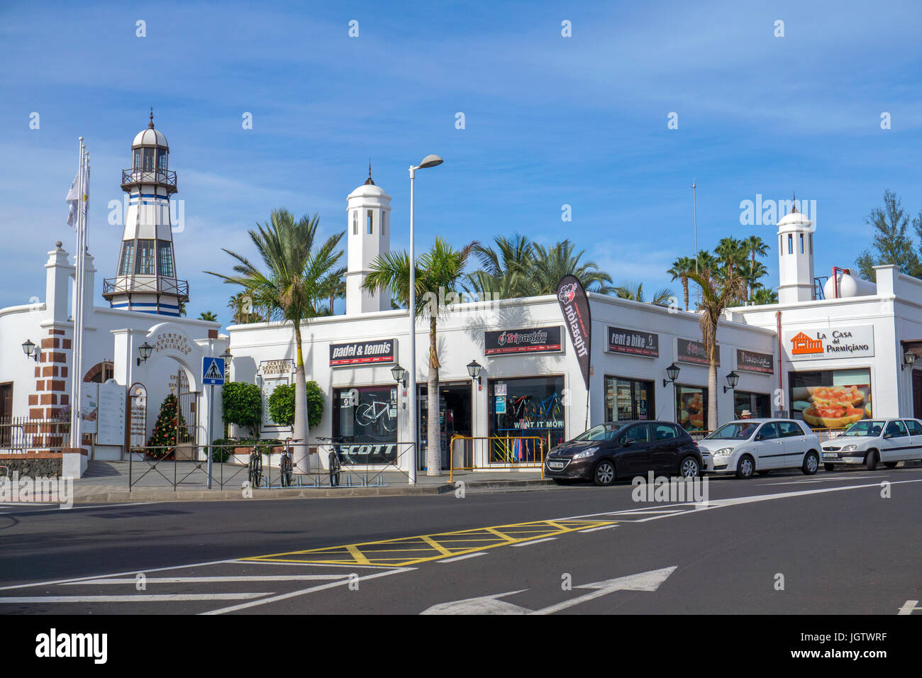 Lighthouse at Centro Deportivo Fariones, sport center at Puerto del Carmen, Lanzarote island, Canary islands, Spain, - Stock Image