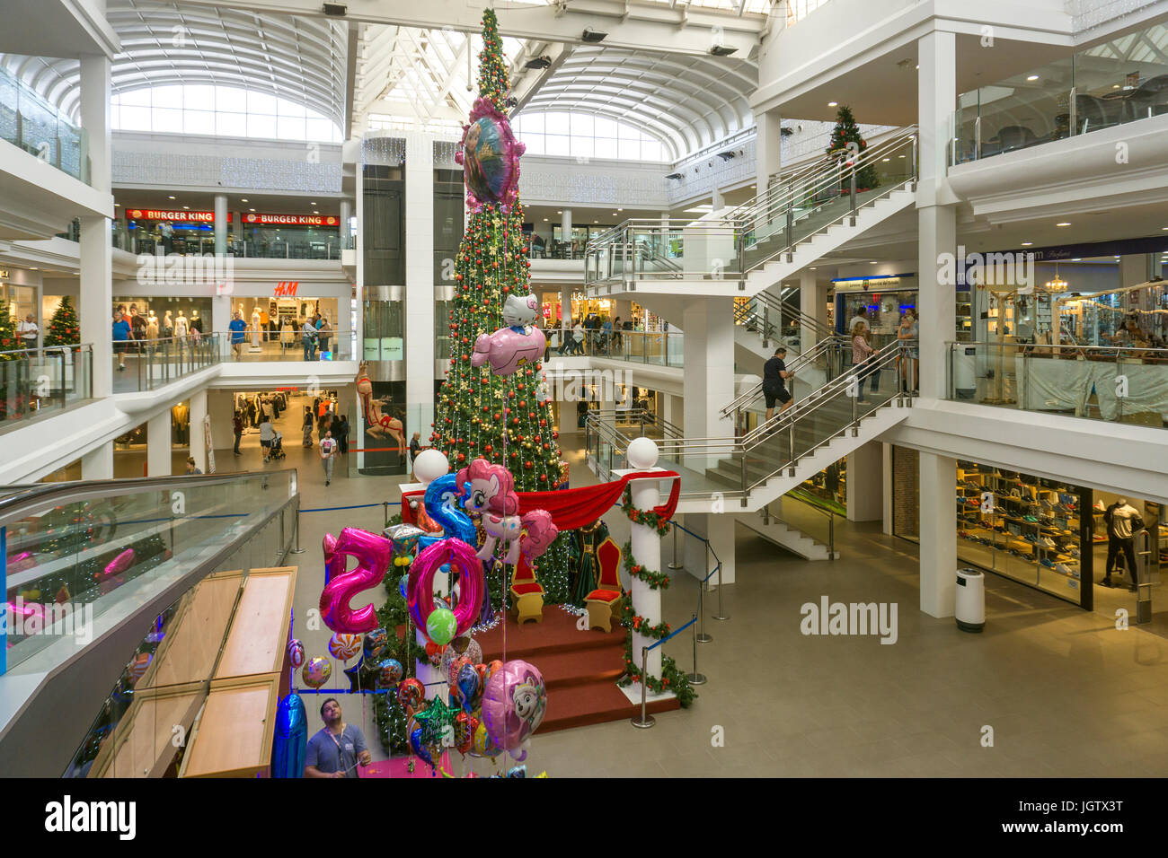 Christmas decoration at Deiland, shopping center, Playa Honda, Lanzarote island, Canary islands, Spain, Europe - Stock Image