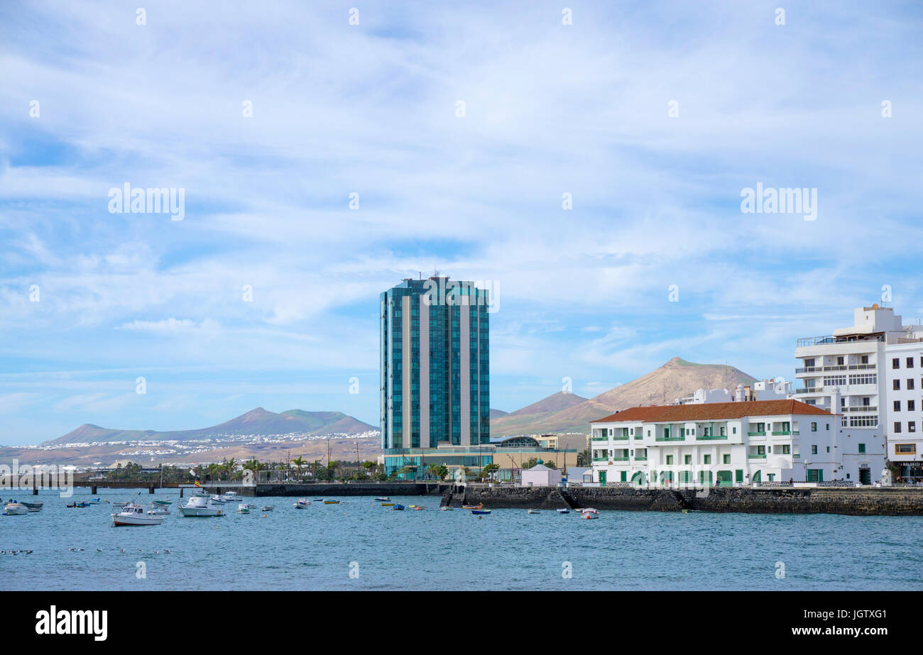 Grand hotel at the beach, with 17 storages the highest building at Arrecife, Lanzarote island, Canary islands, Spain, - Stock Image