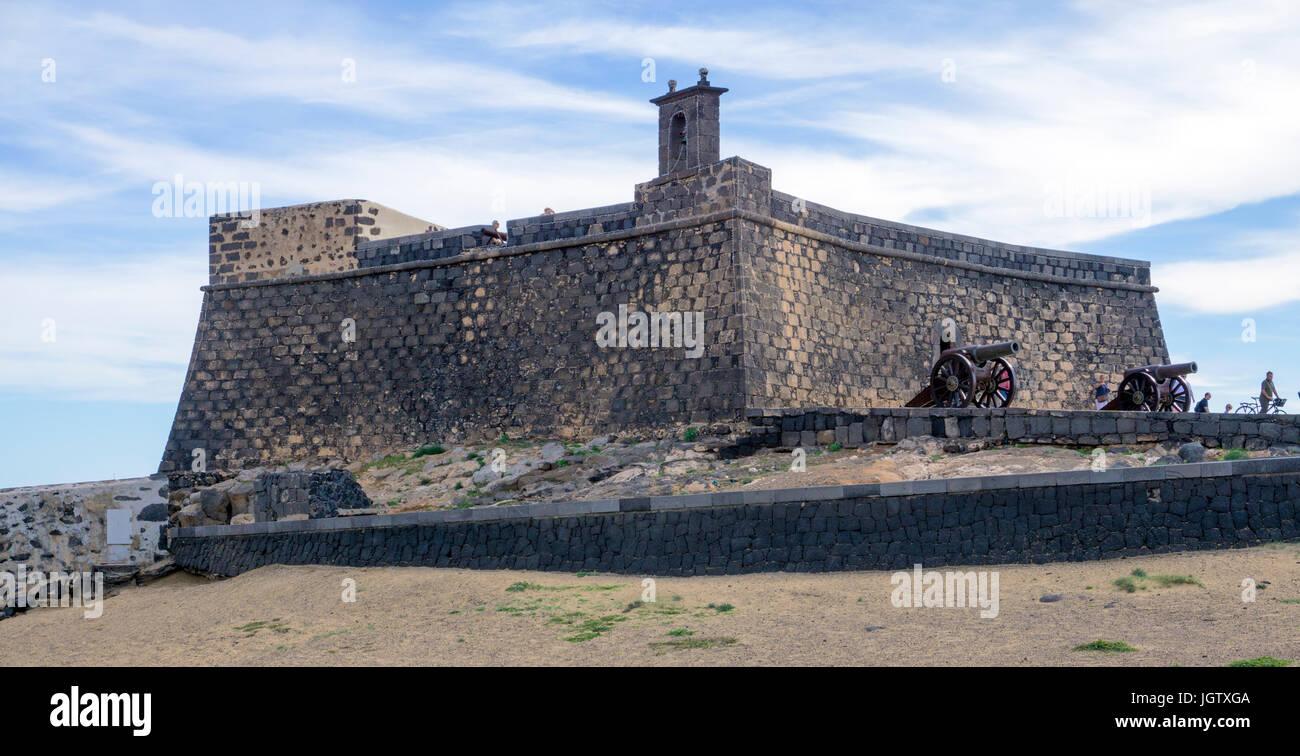 Fortress Castillo de San Gabriel, Arrecife, Lanzarote island, Canary islands, Spain, Europe - Stock Image