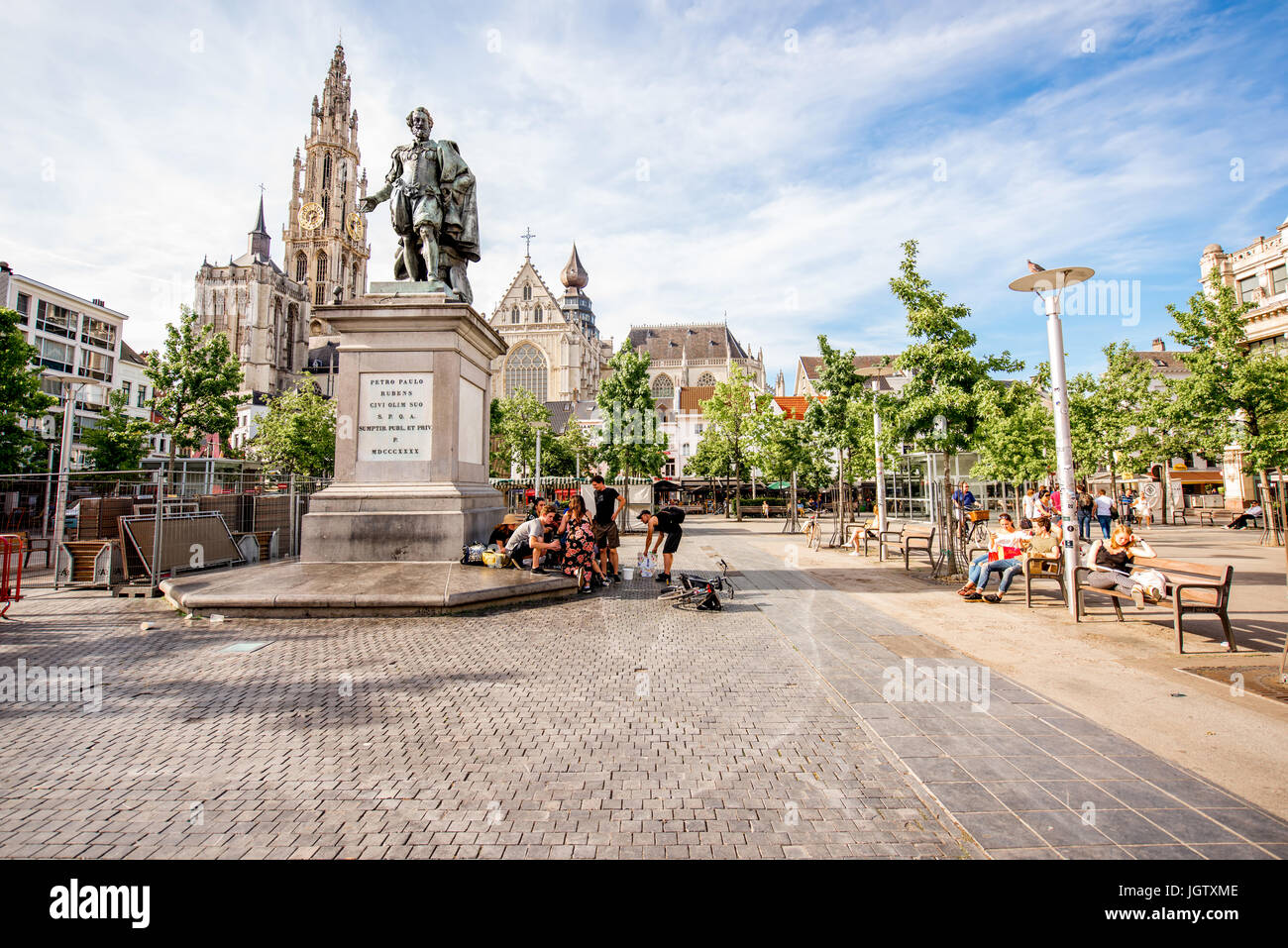 ANTWERPEN, BELGIUM - June 02, 2017: View on the crowded Green square with Rubens statue and church in Antwerpen Stock Photo