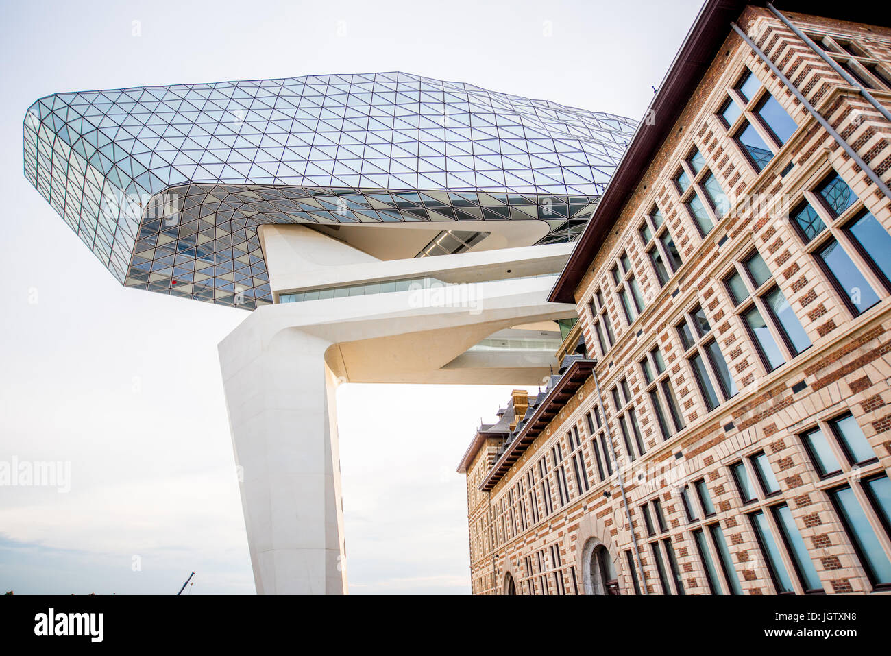 ANTWERPEN, BELGIUM - June 02, 2017: View from below on the Port House building designed by Zaha Hadid architect Stock Photo