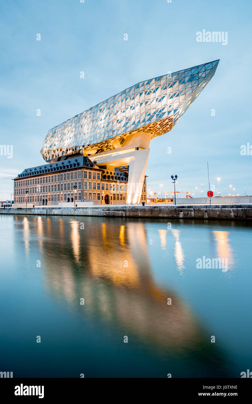 ANTWERPEN, BELGIUM - June 02, 2017: Night view on the illuminated Port House building designed by Zaha Hadid architect Stock Photo