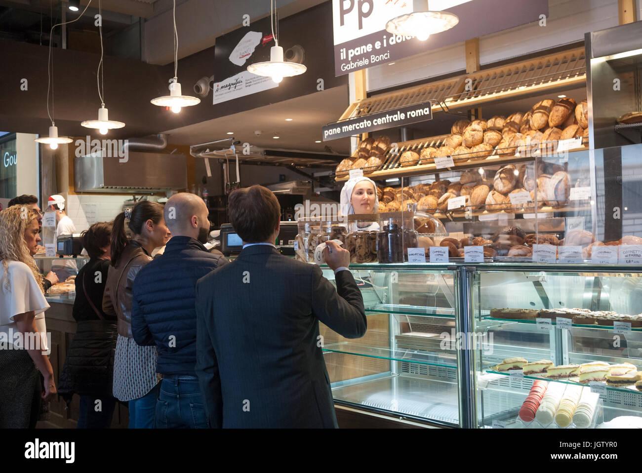 Rome, Italy - Mercato Centrale bakery - Stock Image