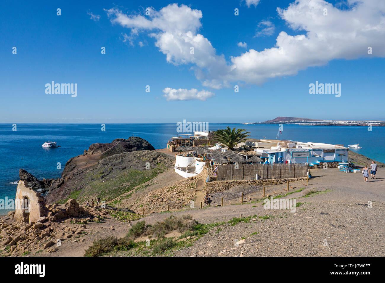 Gastronomy at Playa de Papagayo, Punta Papagayo, Playa Blanca, Lanzarote island, Canary islands, Spain, Europe - Stock Image