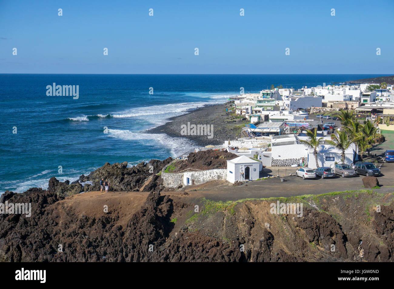 Fishing village El Golfo at west coast of Lanzarote island, Canary islands, Spain, Europe Stock Photo