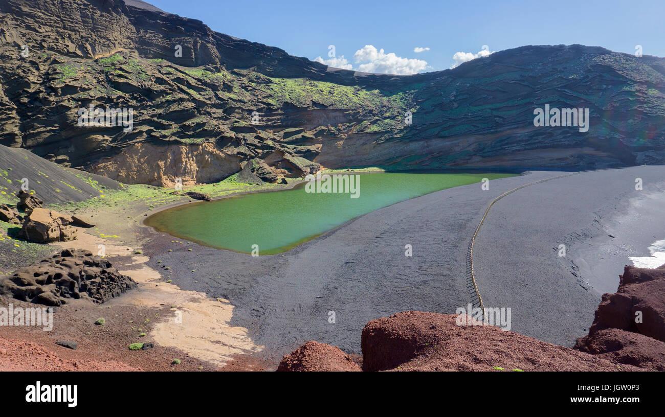 Charco de los Clicos, green lagoon lake at El Golfo, Lanzarote island, Canary islands, Spain, Europe Stock Photo