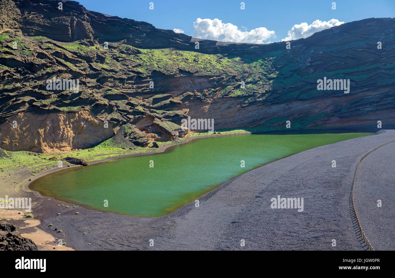 Charco de los Clicos, green lagoon lake at El Golfo, Lanzarote island, Canary islands, Spain, Europe Stock Photo