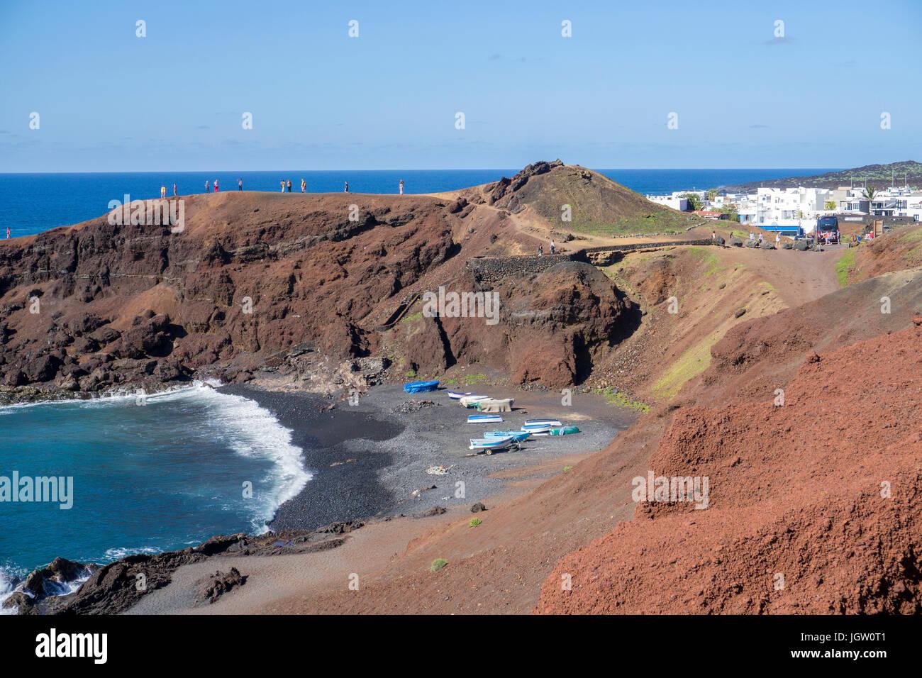 Lava beach at the fishing village El Golfo, Lanzarote island, Canary islands, Spain, Europe - Stock Image