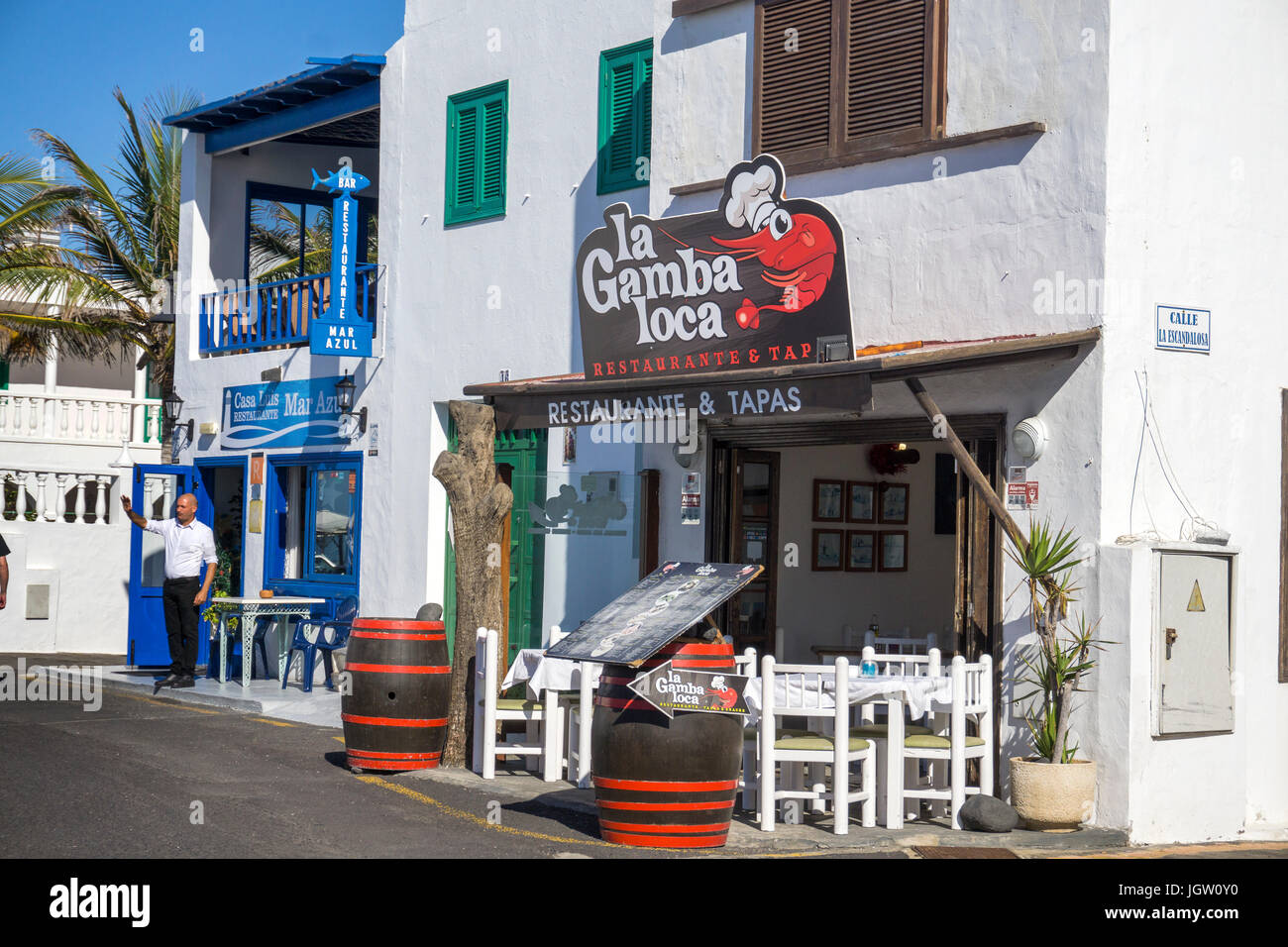 Seafood restaurant and Tapas-Bar at fishing village El Golfo, Lanzarote island, Canary islands, Spain, Europe Stock Photo