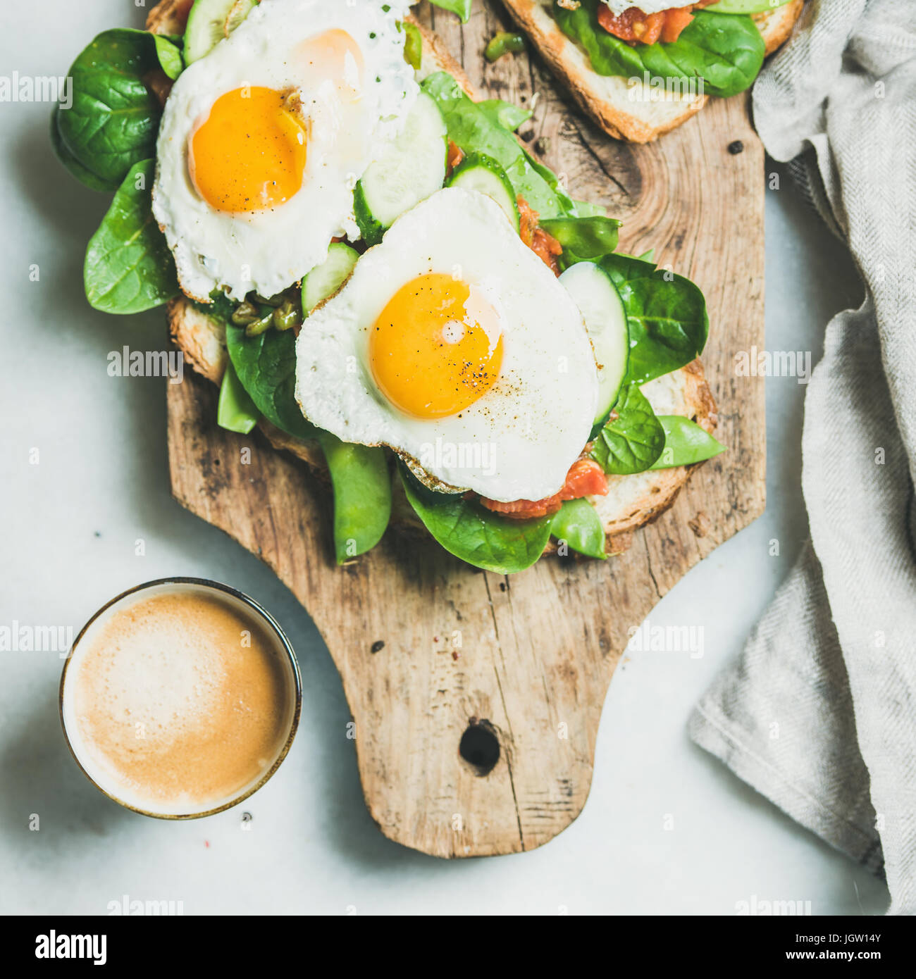 Healthy breakfast sandwiches and cup of coffee, square crop Stock Photo