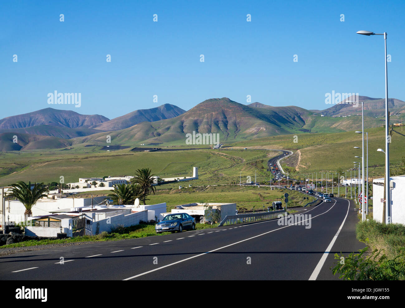 Road from Macher to Uga, Lanzarote island, Canary islands, Spain, Europe Stock Photo