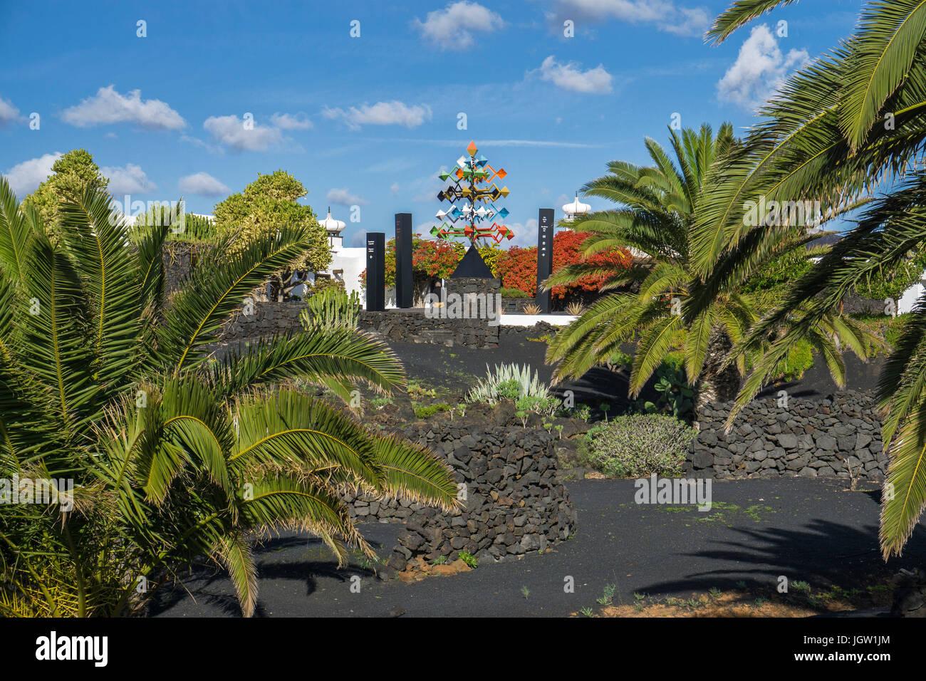Wind chime, sculpture at Fundacion Cesar Manrique, Taro de Tahiche, Tahiche, Lanzarote island, Canary islands, Spain, Stock Photo