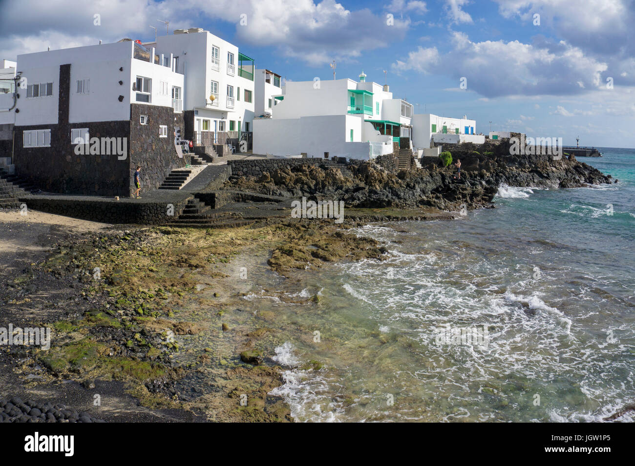 Typical canarian cube houses at Punta Mujeres, fishing village north of Lanzarote island, Canary islands, Spain, Stock Photo
