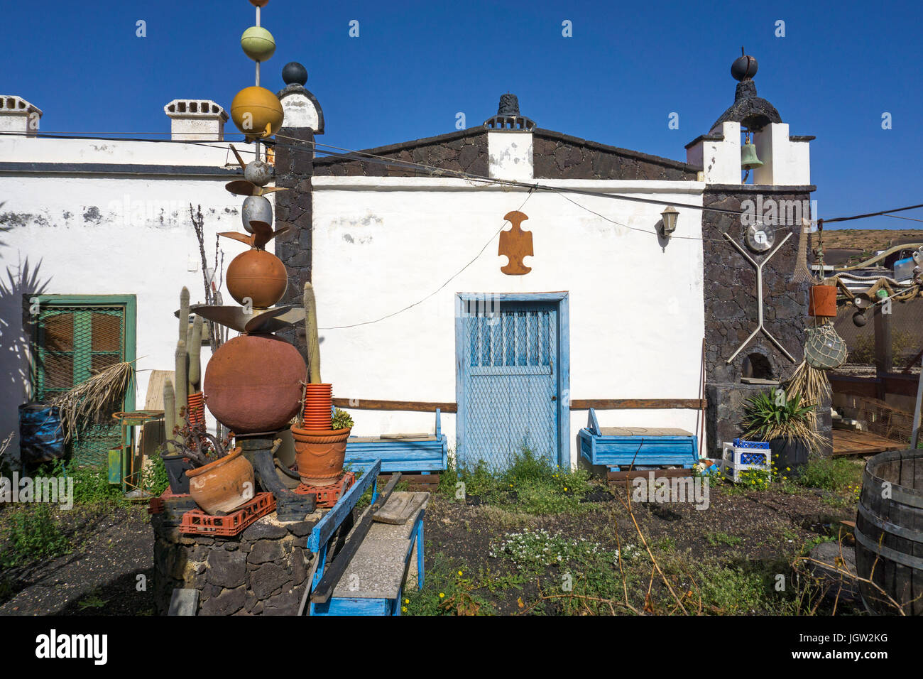 Curious house of a artist at Las Casitas de Femes, Lanzarote island, Canary islands, Spain, Europe - Stock Image