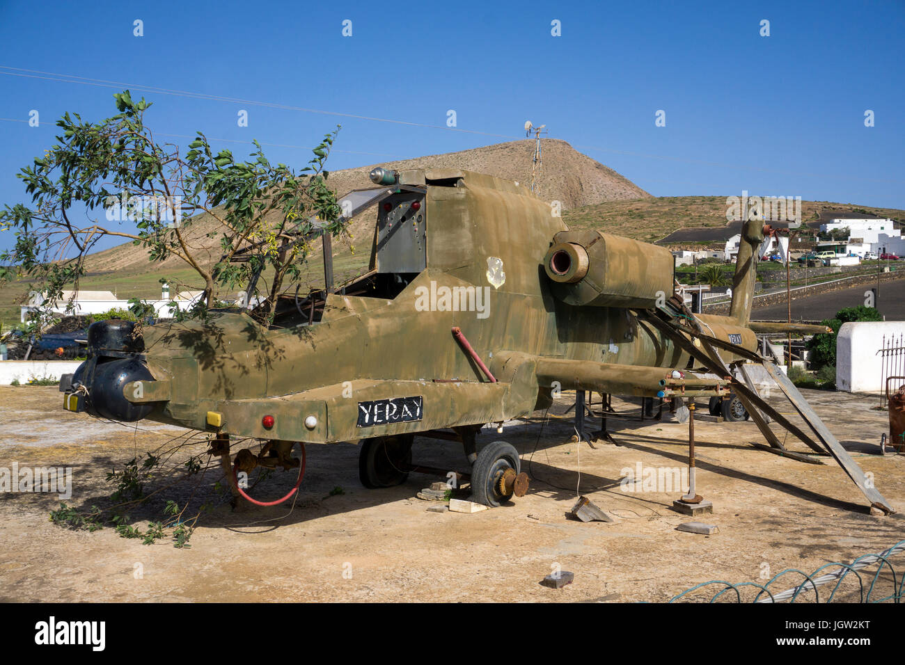 Curious property of a artist with a helicopter at garden, Las Casitas de Femes, Lanzarote island, Canary islands, - Stock Image