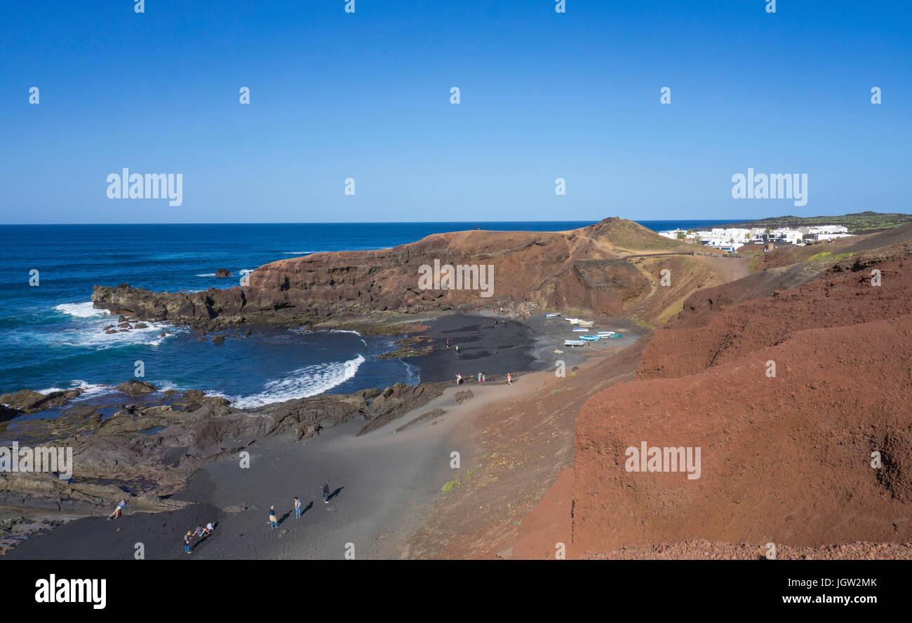 Lava beaches at the fishing village El Golfo, Lanzarote island, Canary islands, Spain, Europe Stock Photo