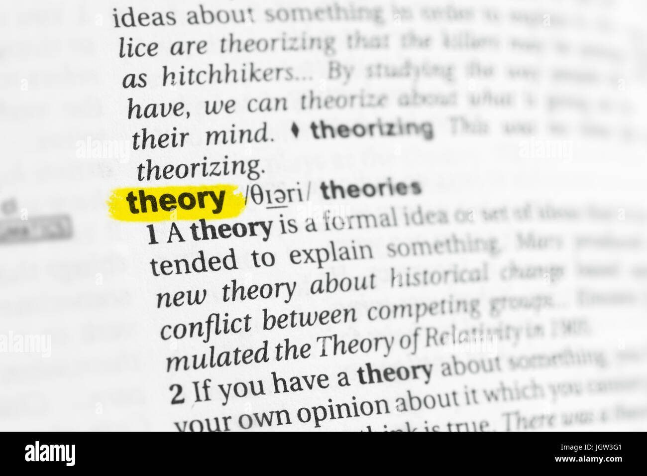 Highlighted English word 'theory' and its definition at the dictionary. - Stock Image