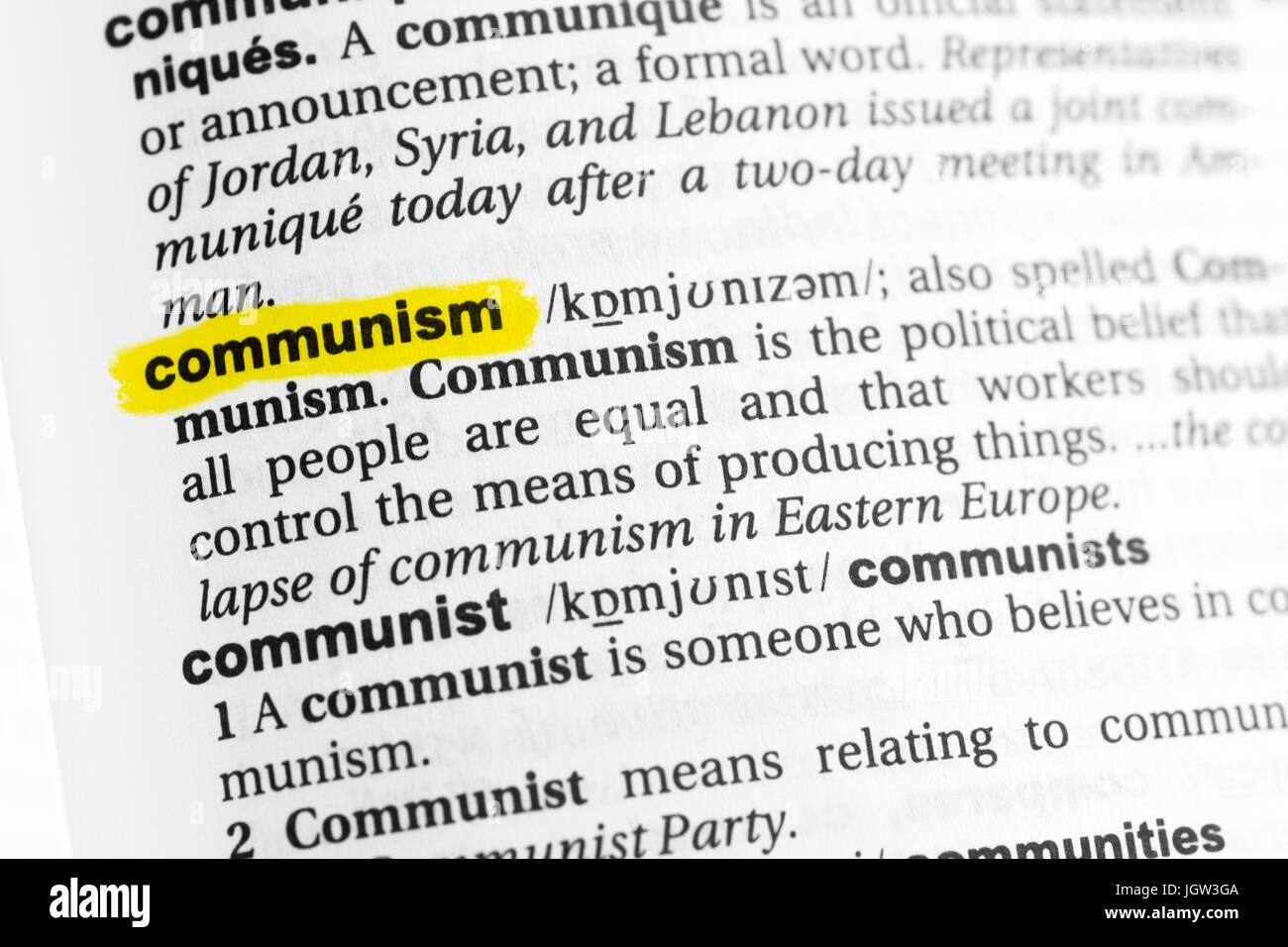 highlighted english word communism and its definition at the stock