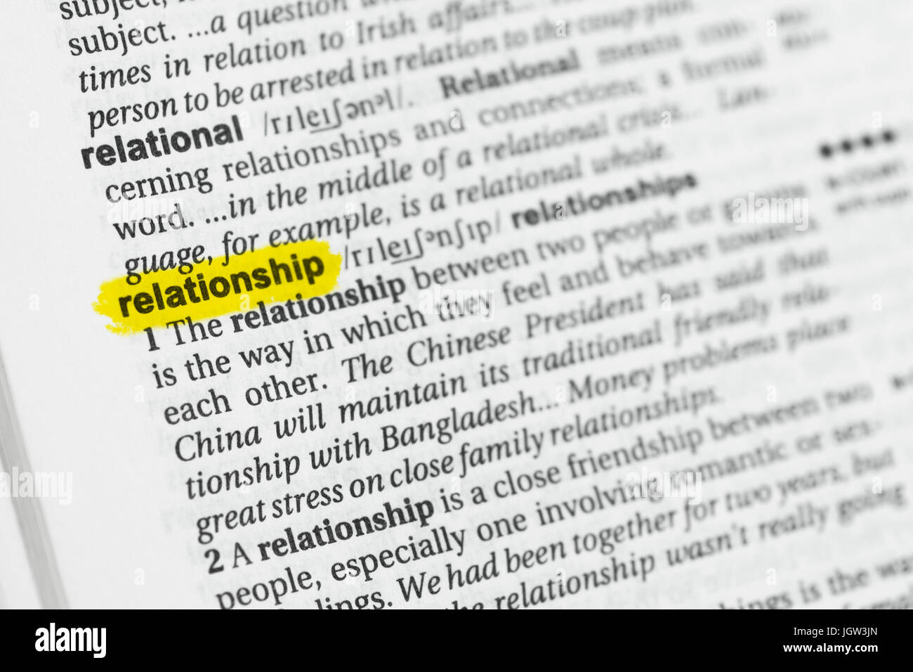 Highlighted English word 'relationship' and its definition at the dictionary. - Stock Image