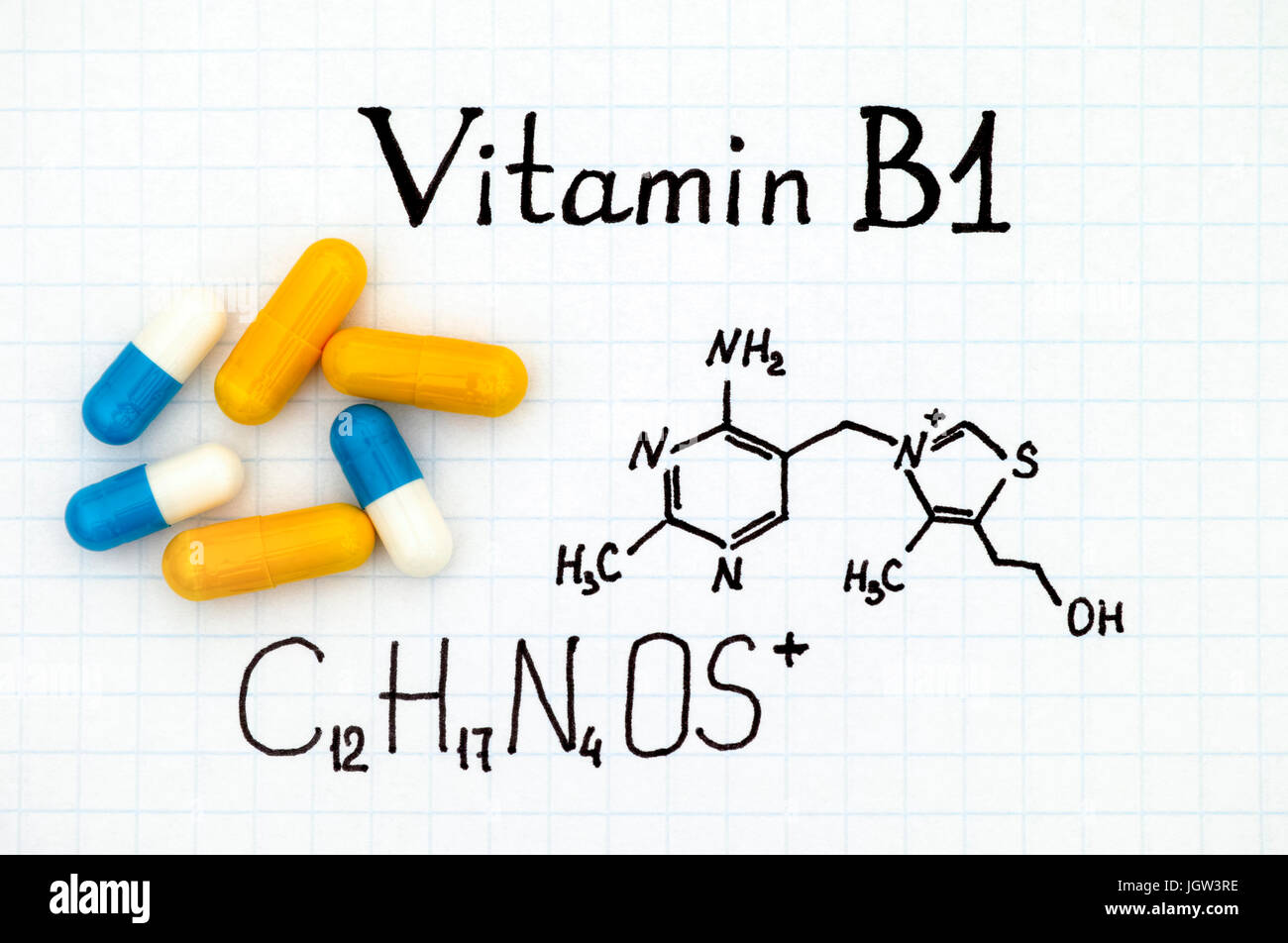 Chemical formula of Vitamin B1 and some pills. - Stock Image