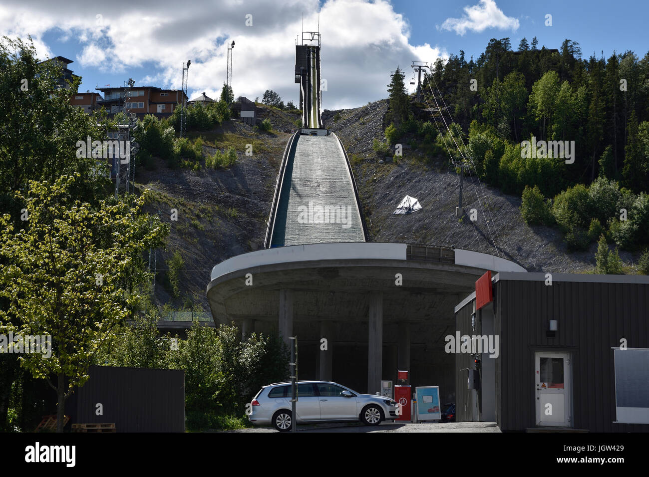 Ski jumping facility in the town Ornskoldsvik in the North of Sweden. - Stock Image