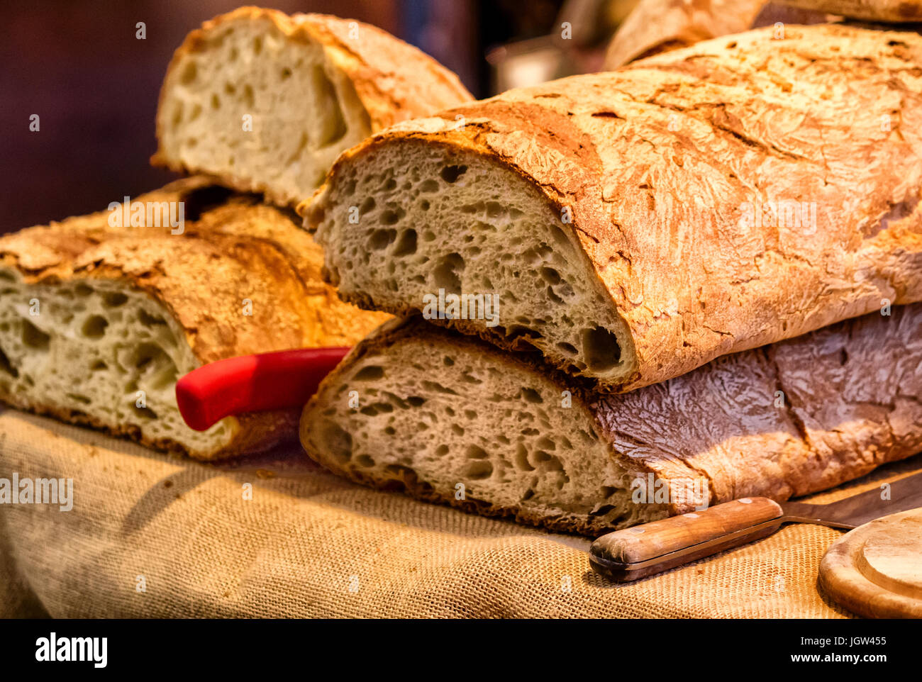 Fresh Baked Italian Bread On Rustic Background
