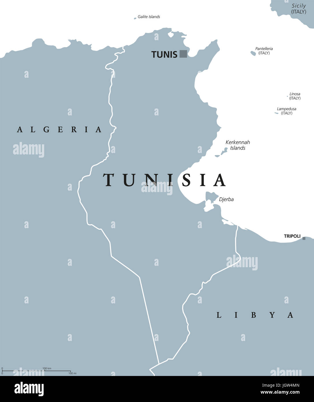 Tunisia political map with capital Tunis and borders. Tunisian