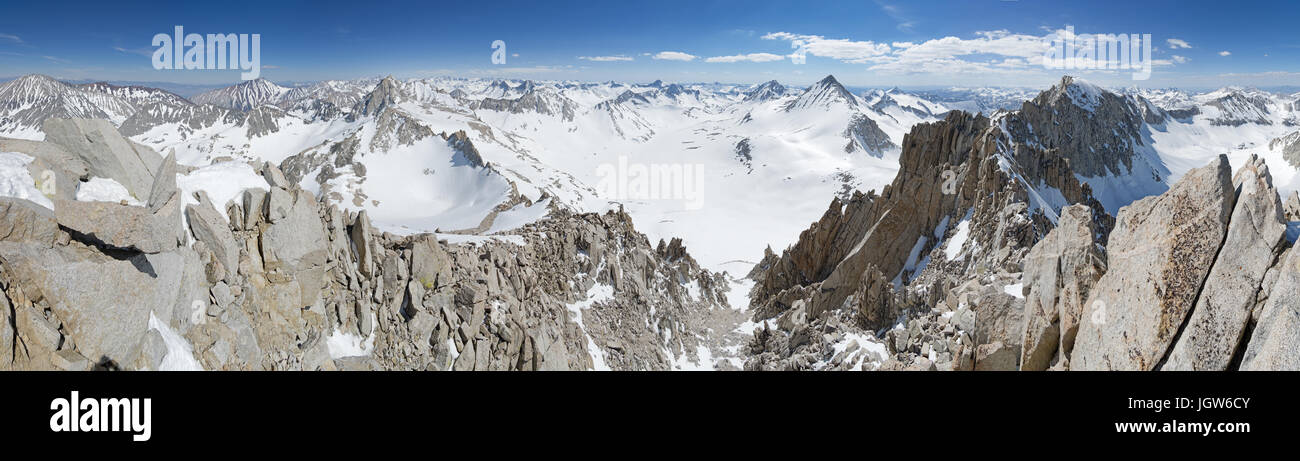 a snowy panorama from the top of Mount Dade in the Sierra Nevada Mountains of California - Stock Image
