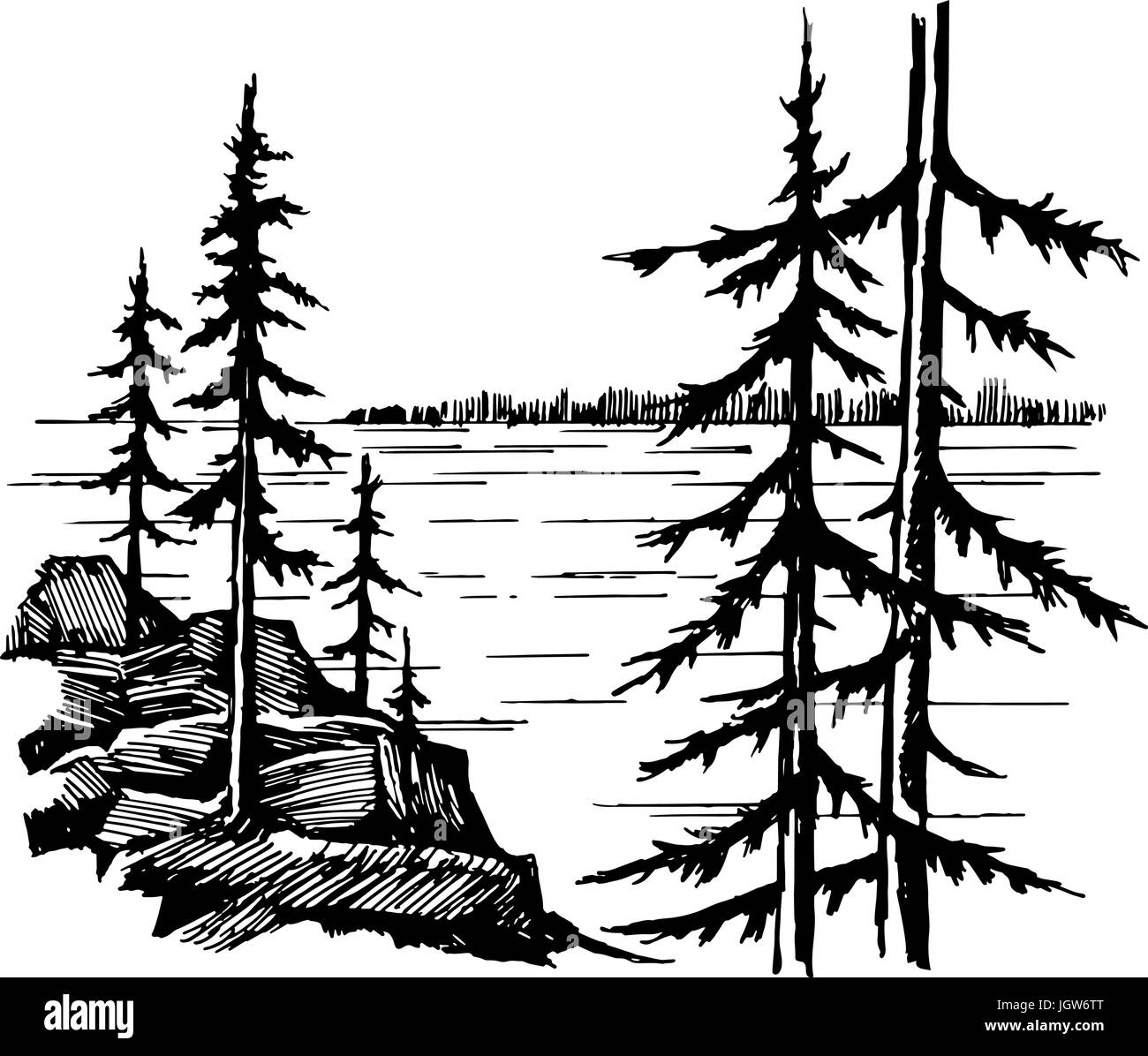 Landscape with lake and spruce fores - Stock Vector