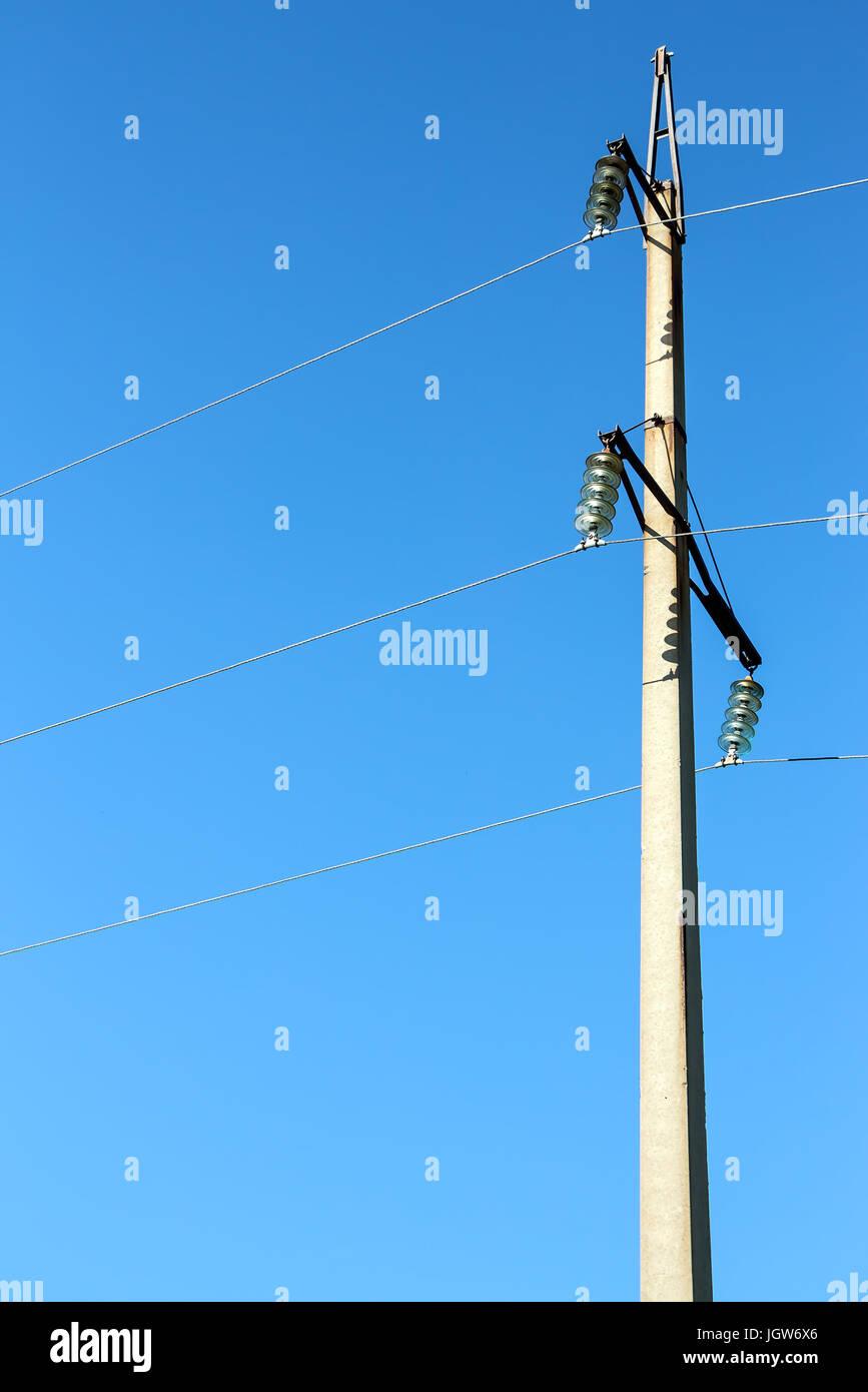 Pillar with power line - Stock Image