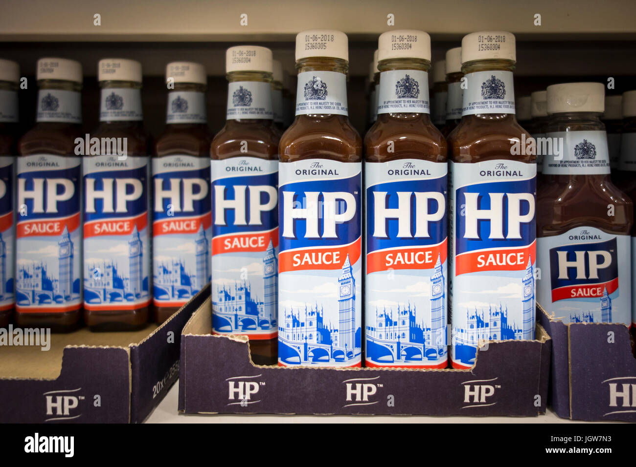 Bottles of HP Sauce for sale on a supermarket shelf in the UK - Stock Image