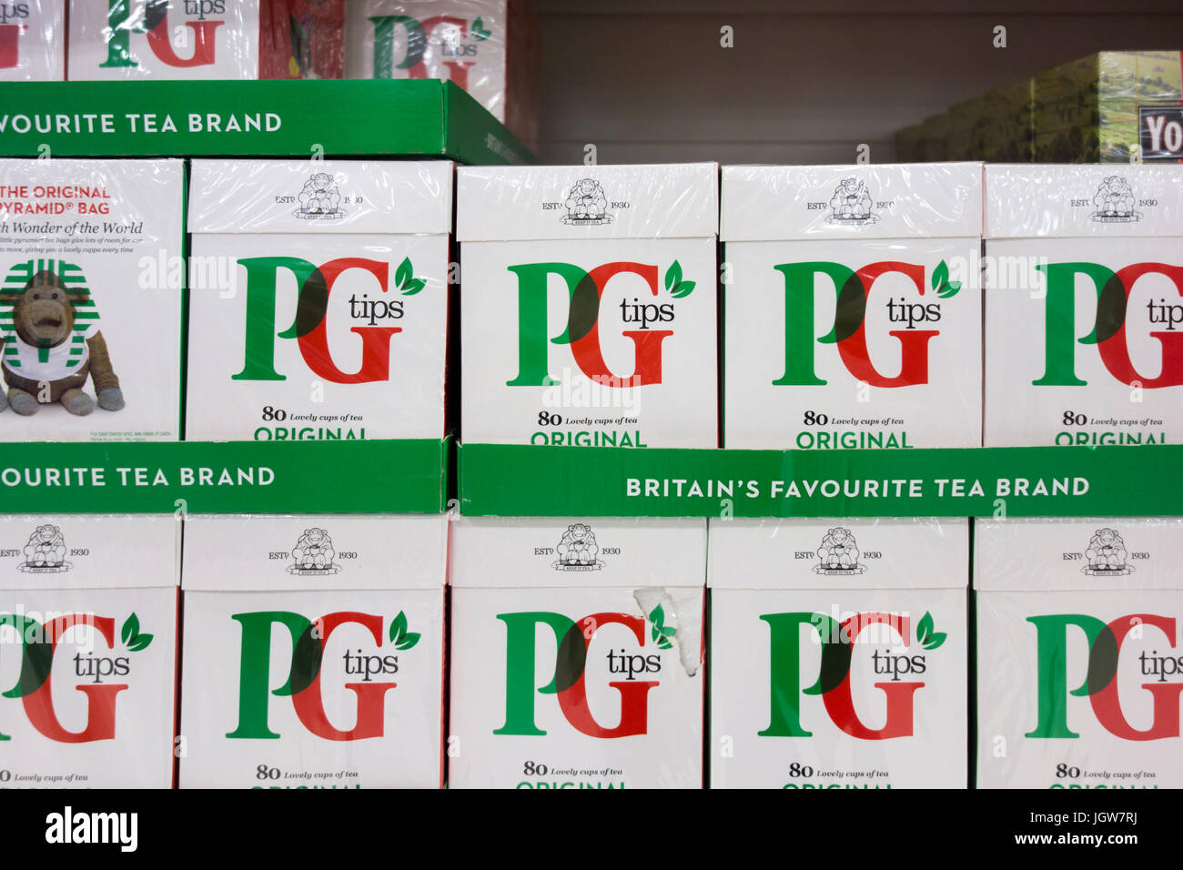 Packs of PG Tips tea for sale on a supermarket shelf in the UK - Stock Image