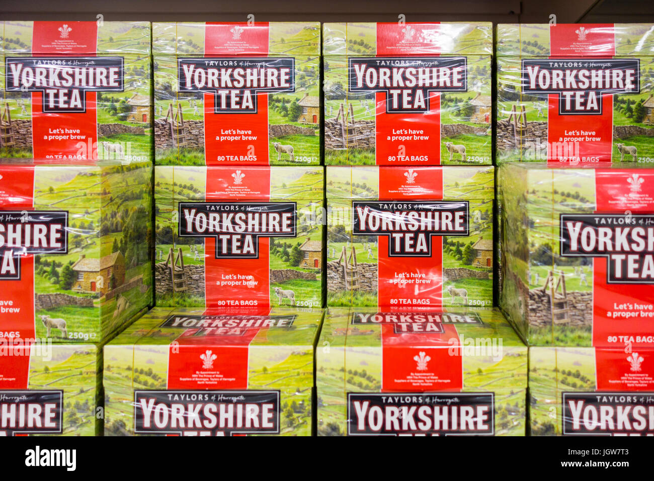 Packs of Yorkshire Tea for sale on a supermarket shelf in the UK - Stock Image