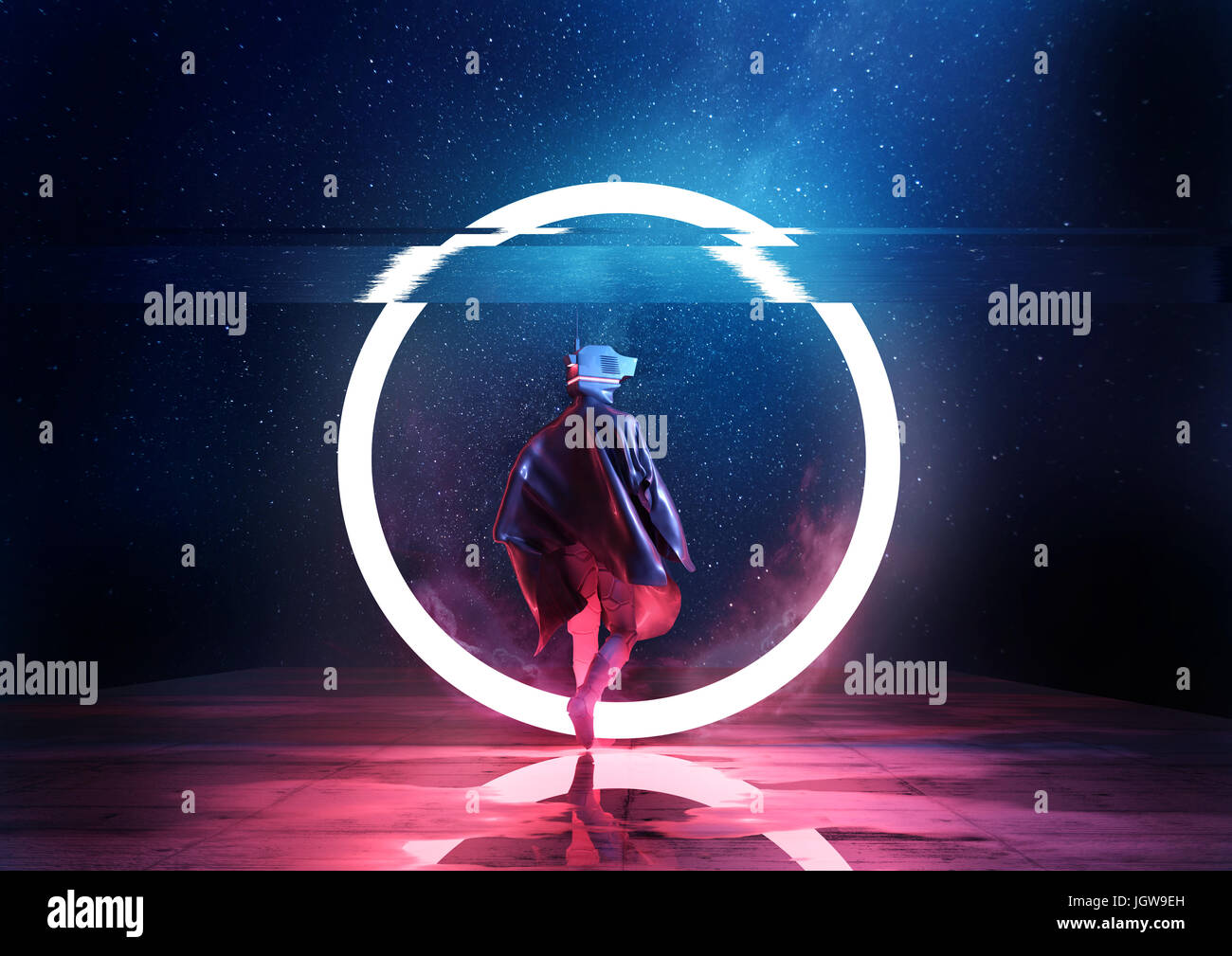 Retro Future. A futuristic spaceman walking thorugh a circle of light. 3D illustration - Stock Image