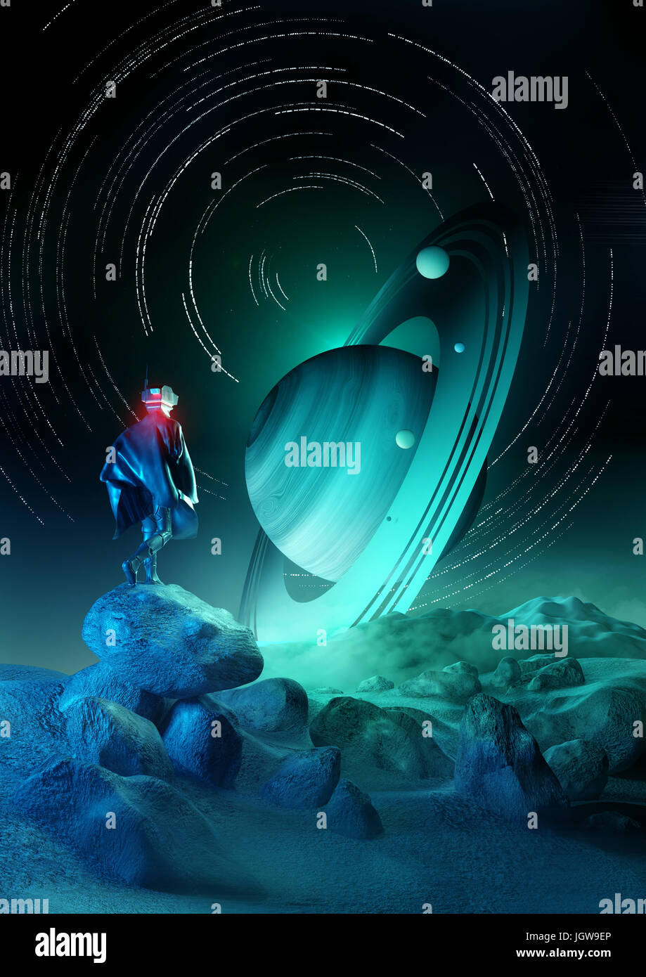 Wonder Exploration. A futuristic human exploring a strange planet system. 3D illustration. - Stock Image