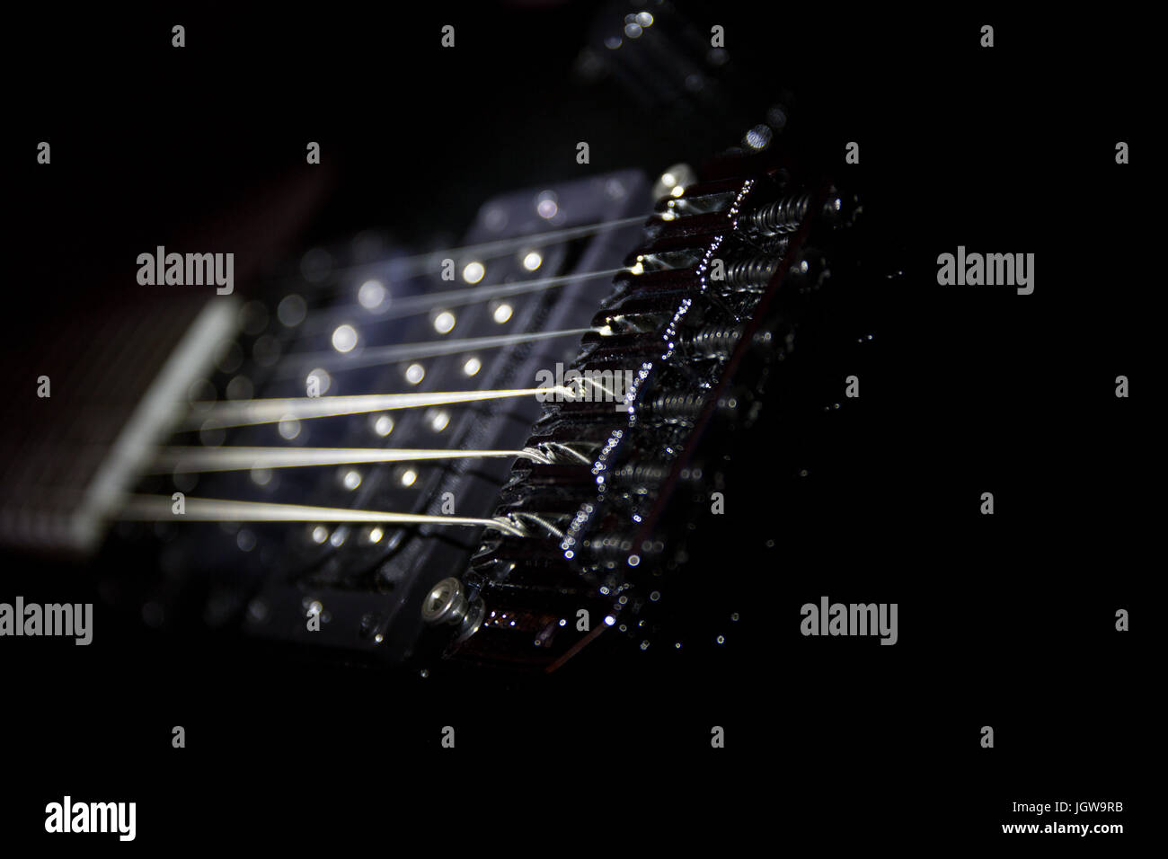 Guitar strings, Shallow depth of field. - Stock Image