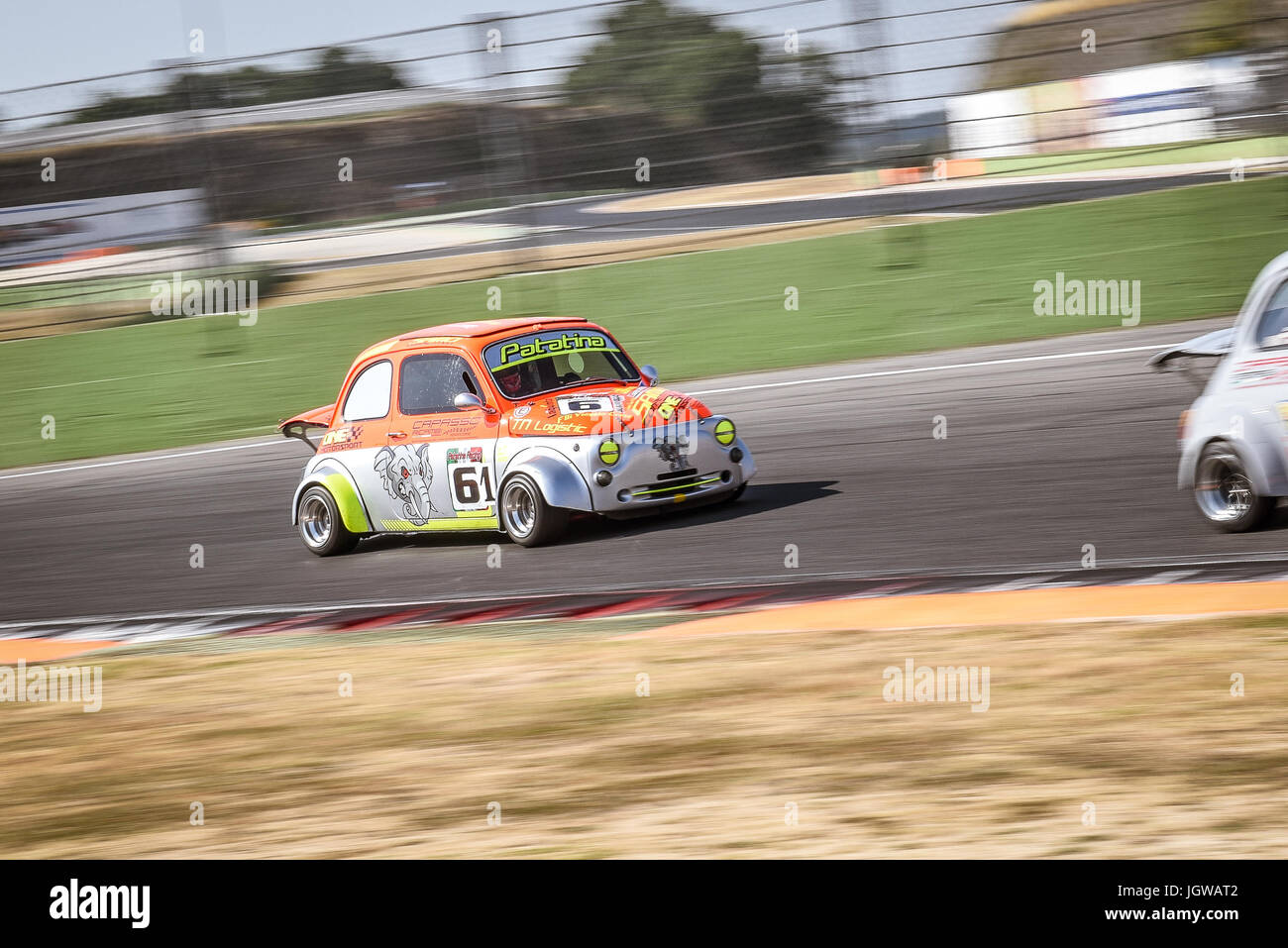 Italian Bicilindriche Cup Fiat 500 Racing Car In Action During The