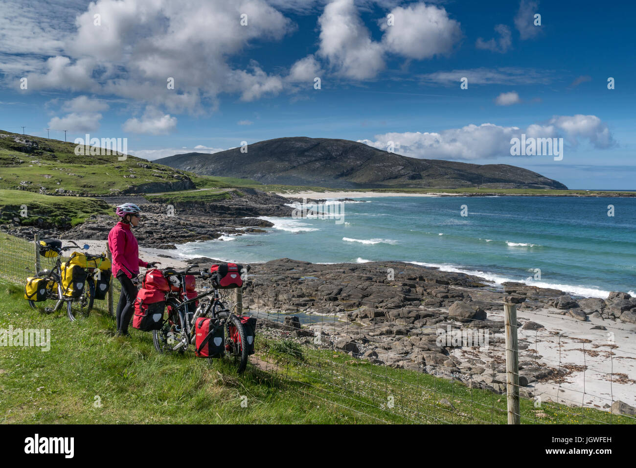Cycling the Hebridean Way - Stock Image