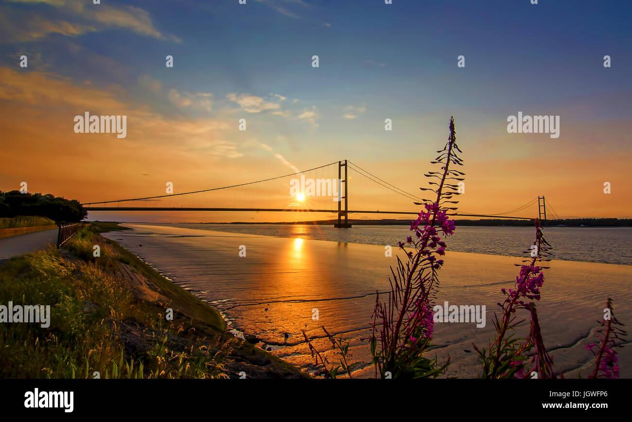 Humber Bridge Sunset - Stock Image