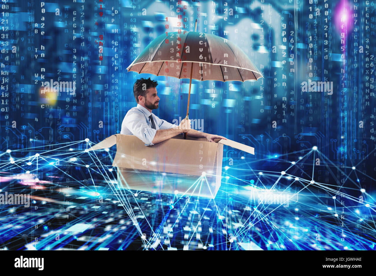 Businessman surfing the internet on a cardboard. Internet exploration concept - Stock Image