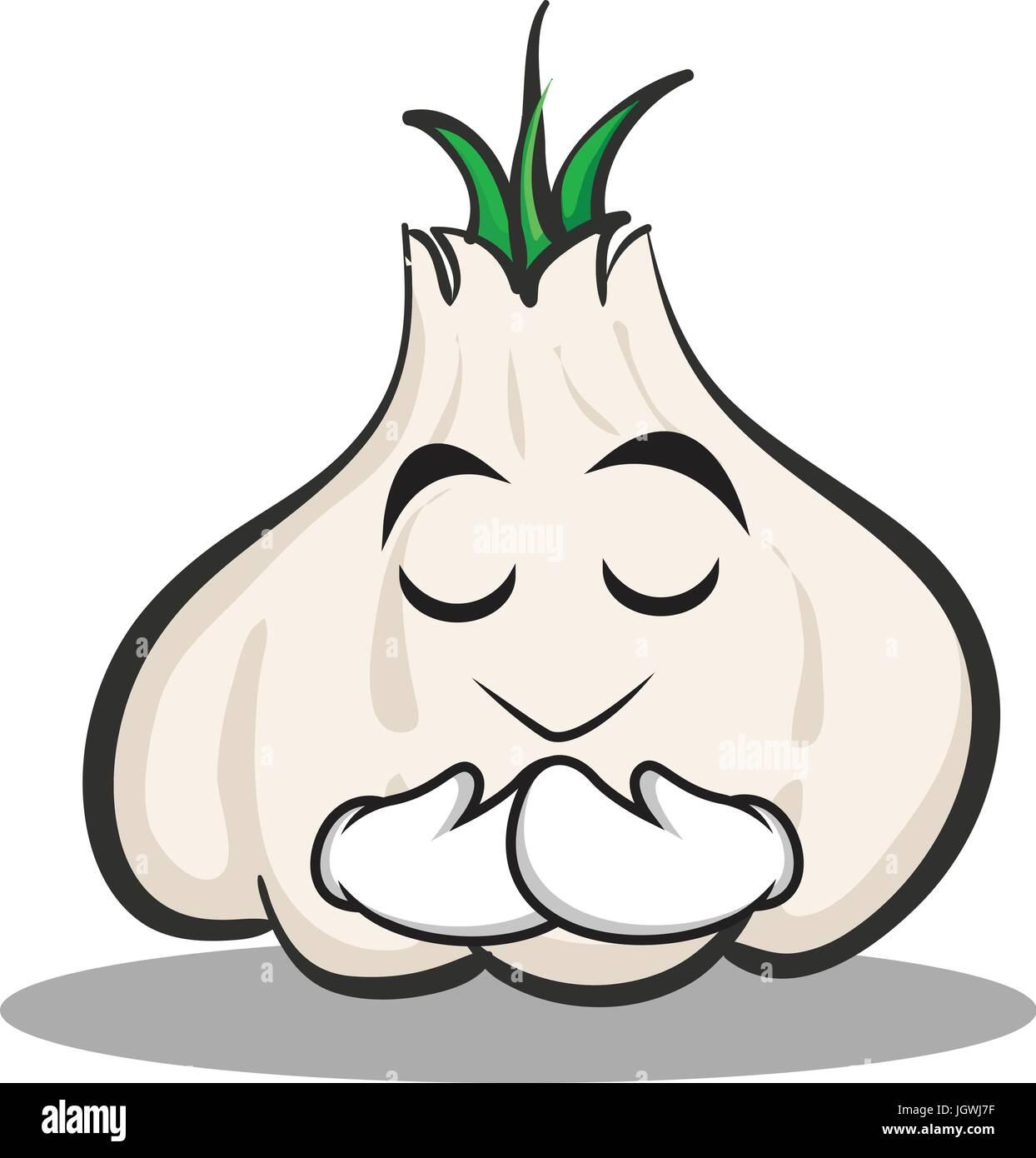 Praying garlic cartoon character - Stock Vector