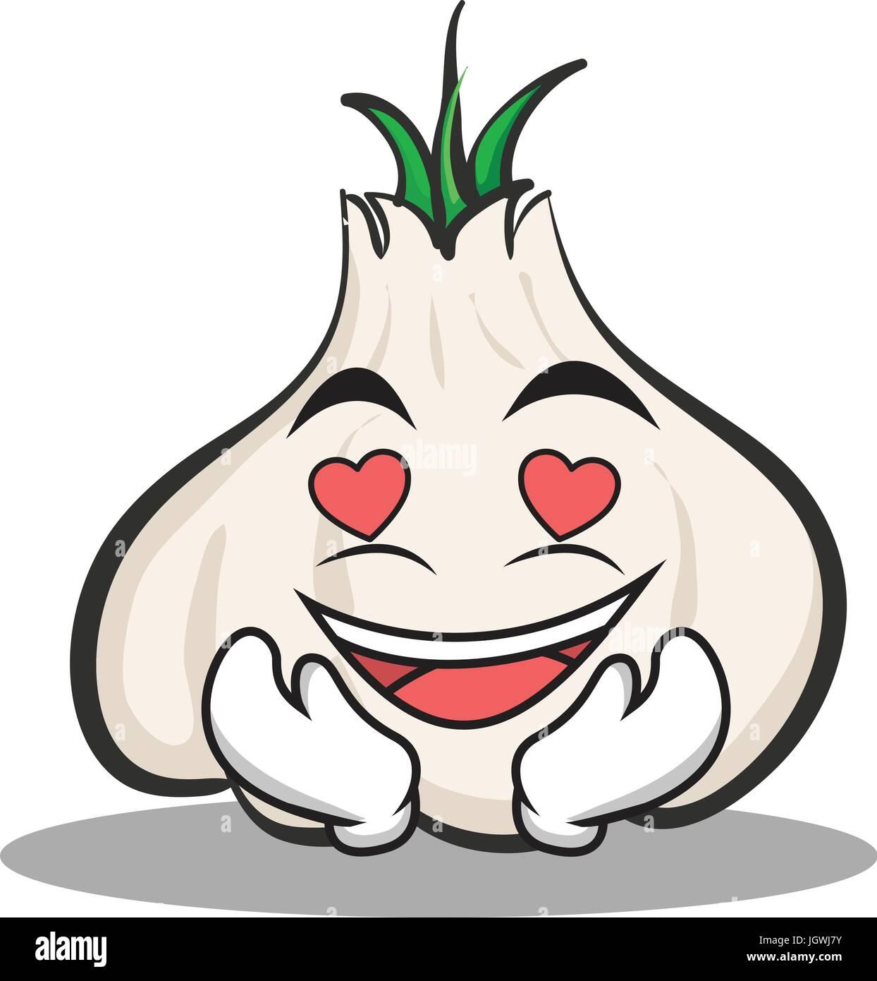 In love garlic cartoon character - Stock Vector
